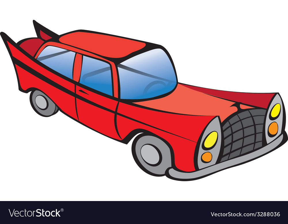 Old car red vector | Price: 1 Credit (USD $1)