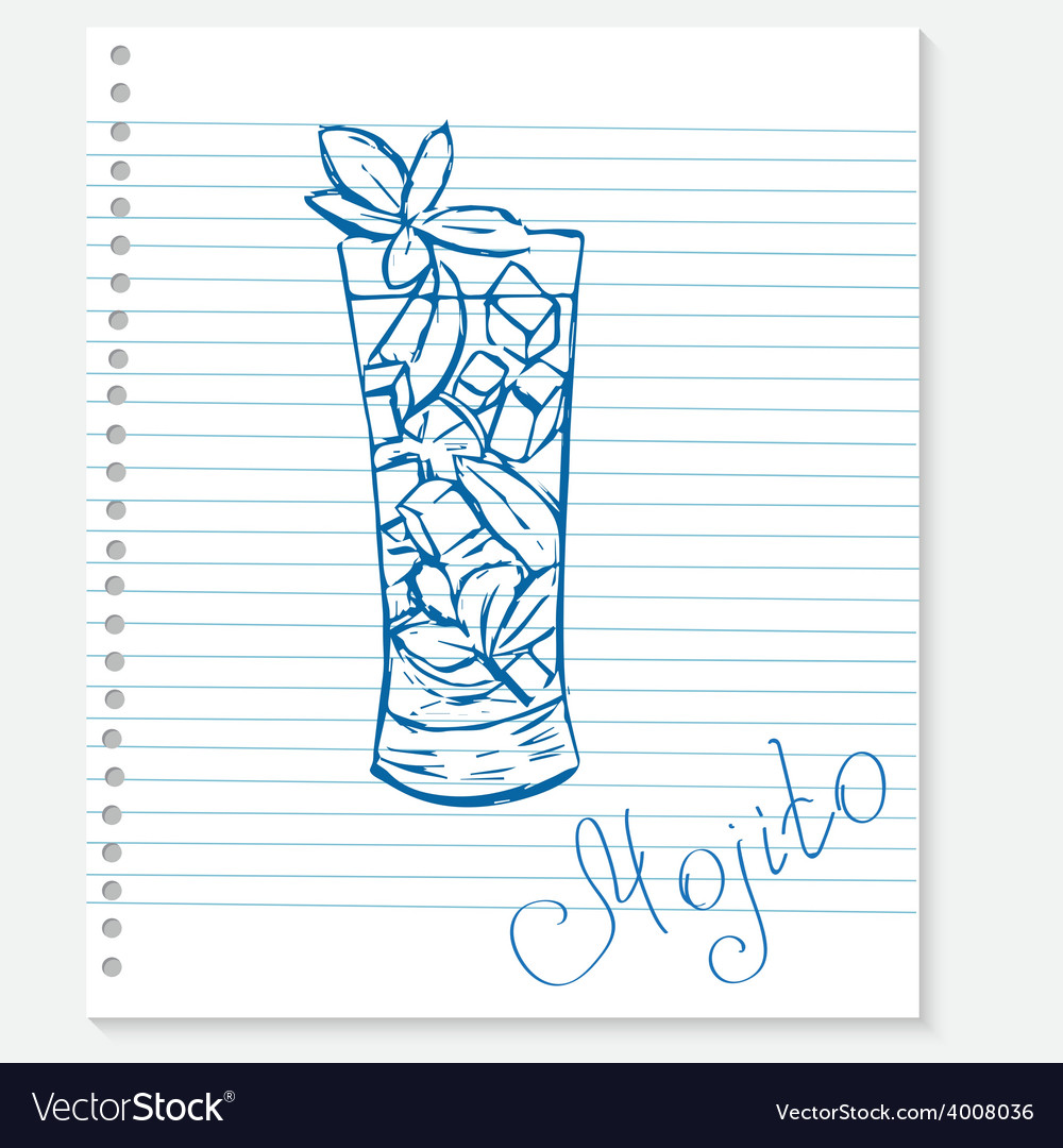 Sketch of a mojito cocktail on notebook sheet vector | Price: 1 Credit (USD $1)