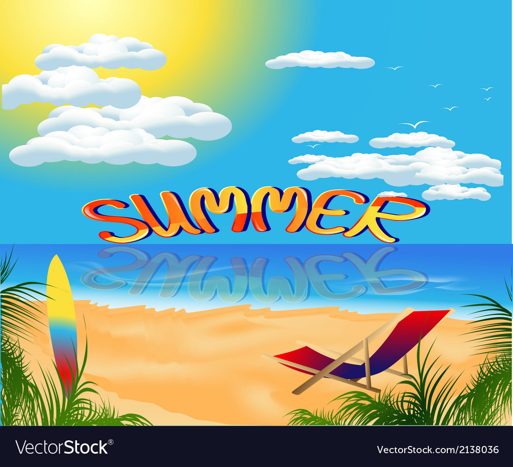 Summer card with sea view vector | Price: 1 Credit (USD $1)