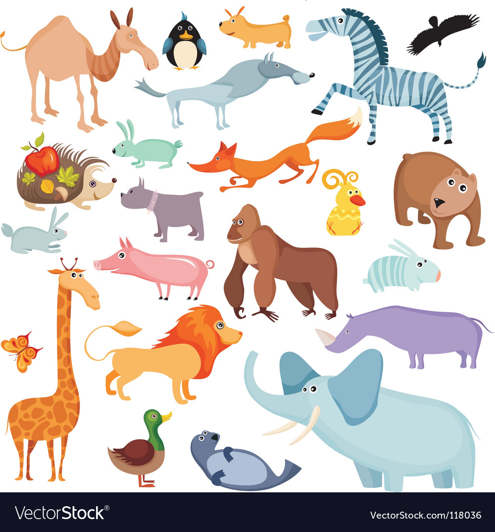 Wild animals set vector | Price: 3 Credit (USD $3)