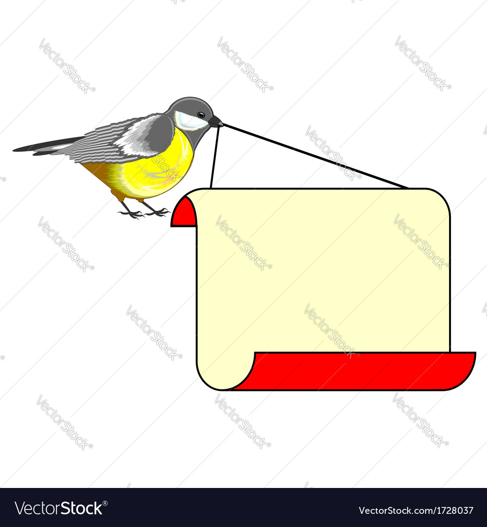 A cute bird titmouse with a big blank paper vector | Price: 1 Credit (USD $1)