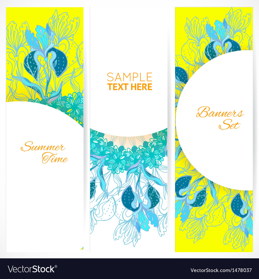 Blue floral ornament banners set vector | Price: 1 Credit (USD $1)