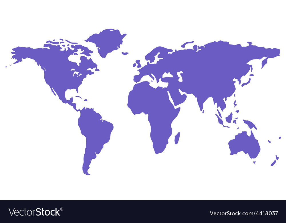 Blue isolated world map silhouette vector | Price: 1 Credit (USD $1)