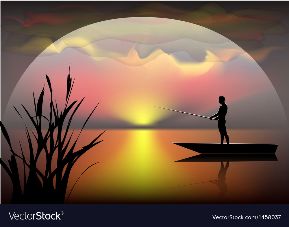 Fisherman on the boat vector | Price: 1 Credit (USD $1)