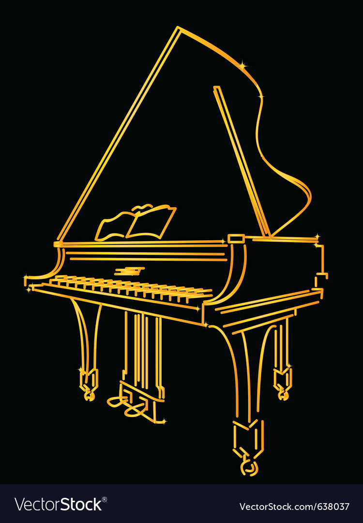 Golden piano stylized vector | Price: 1 Credit (USD $1)