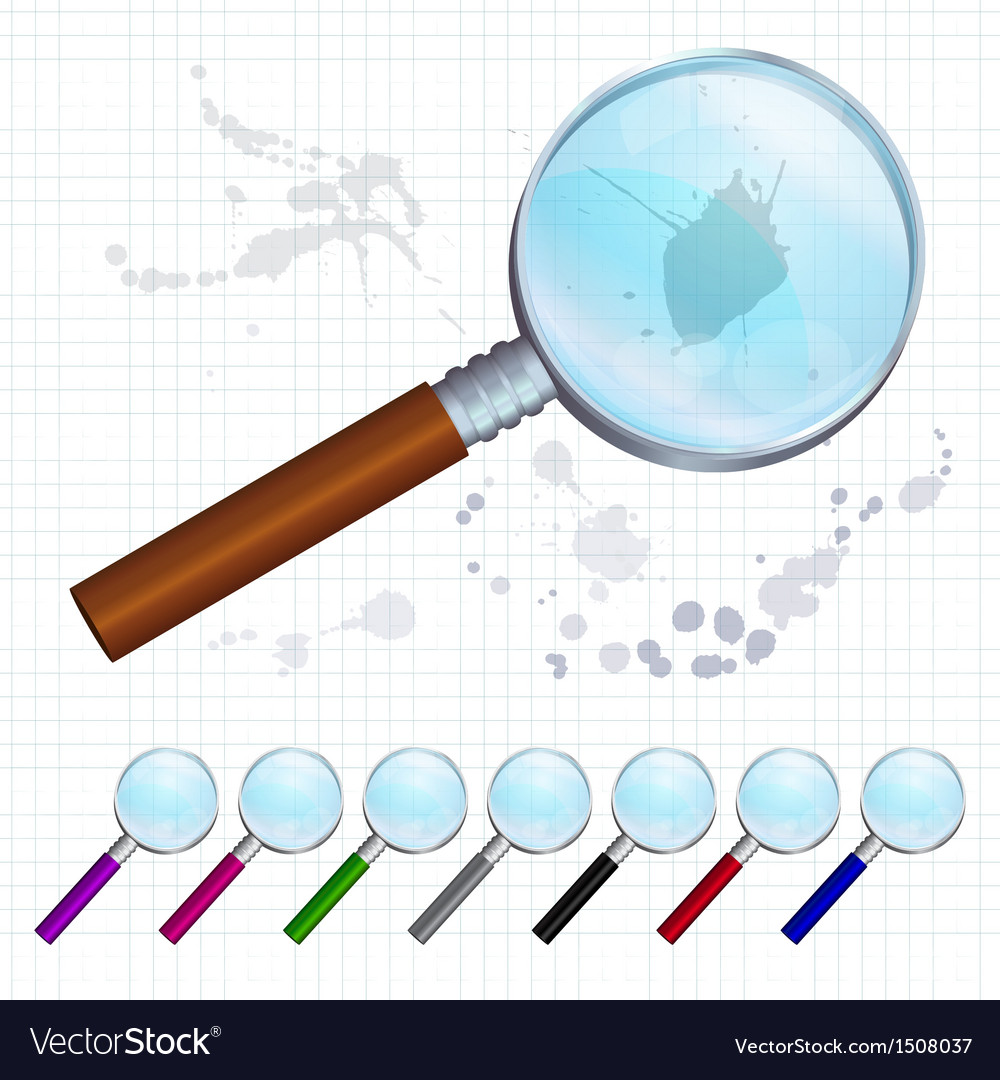 Set of colorful magnifying glasses vector | Price: 1 Credit (USD $1)