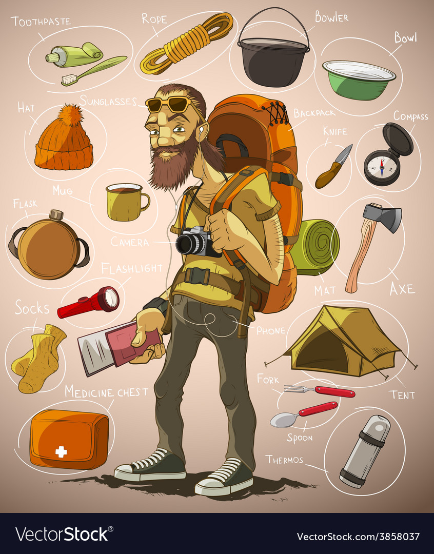Traveler and a set of things for travel vector | Price: 3 Credit (USD $3)