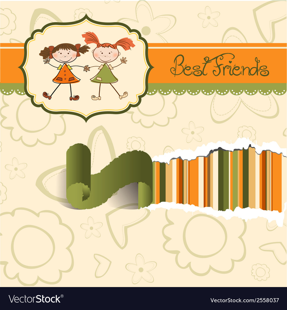 Two little girls best friends vector | Price: 1 Credit (USD $1)