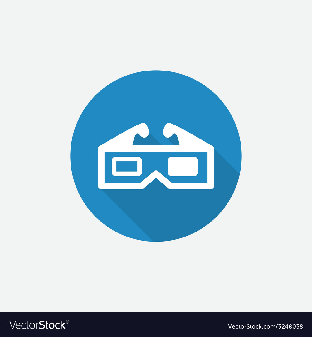 3d movie flat blue simple icon with long shadow vector | Price: 1 Credit (USD $1)