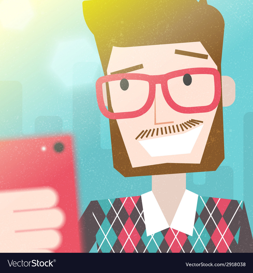 Bearded man taking a selfie photo vector | Price: 1 Credit (USD $1)