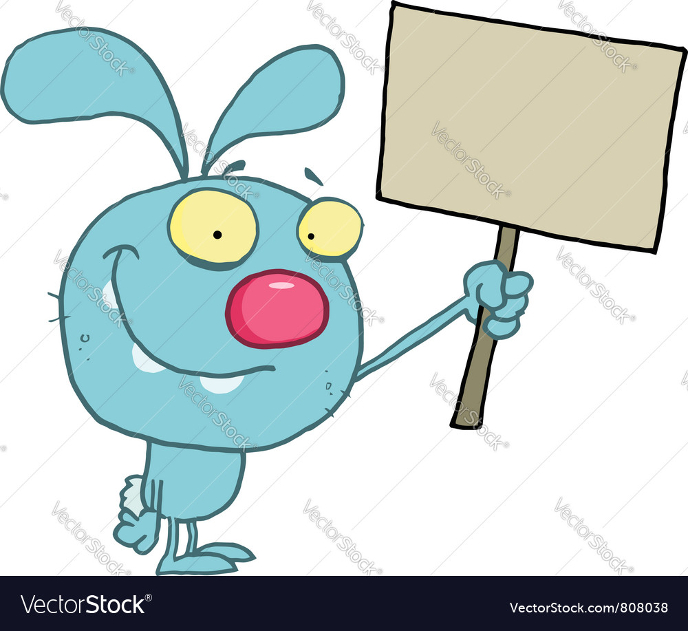Blue rabbit holding up a happy easter vector   Price: 1 Credit (USD $1)