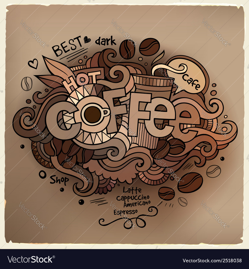 Coffee hand lettering and doodles elements vector | Price: 1 Credit (USD $1)