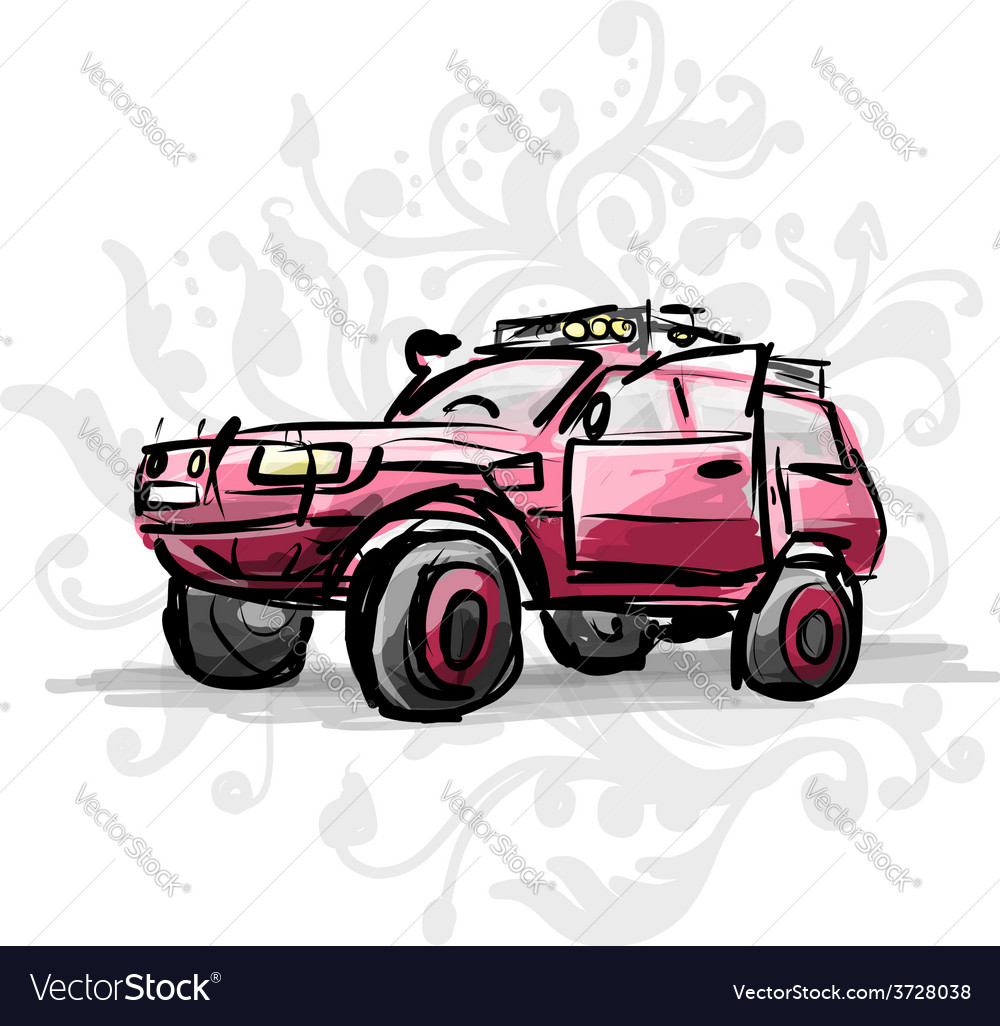 Female pink jeep sketch for your design vector | Price: 1 Credit (USD $1)