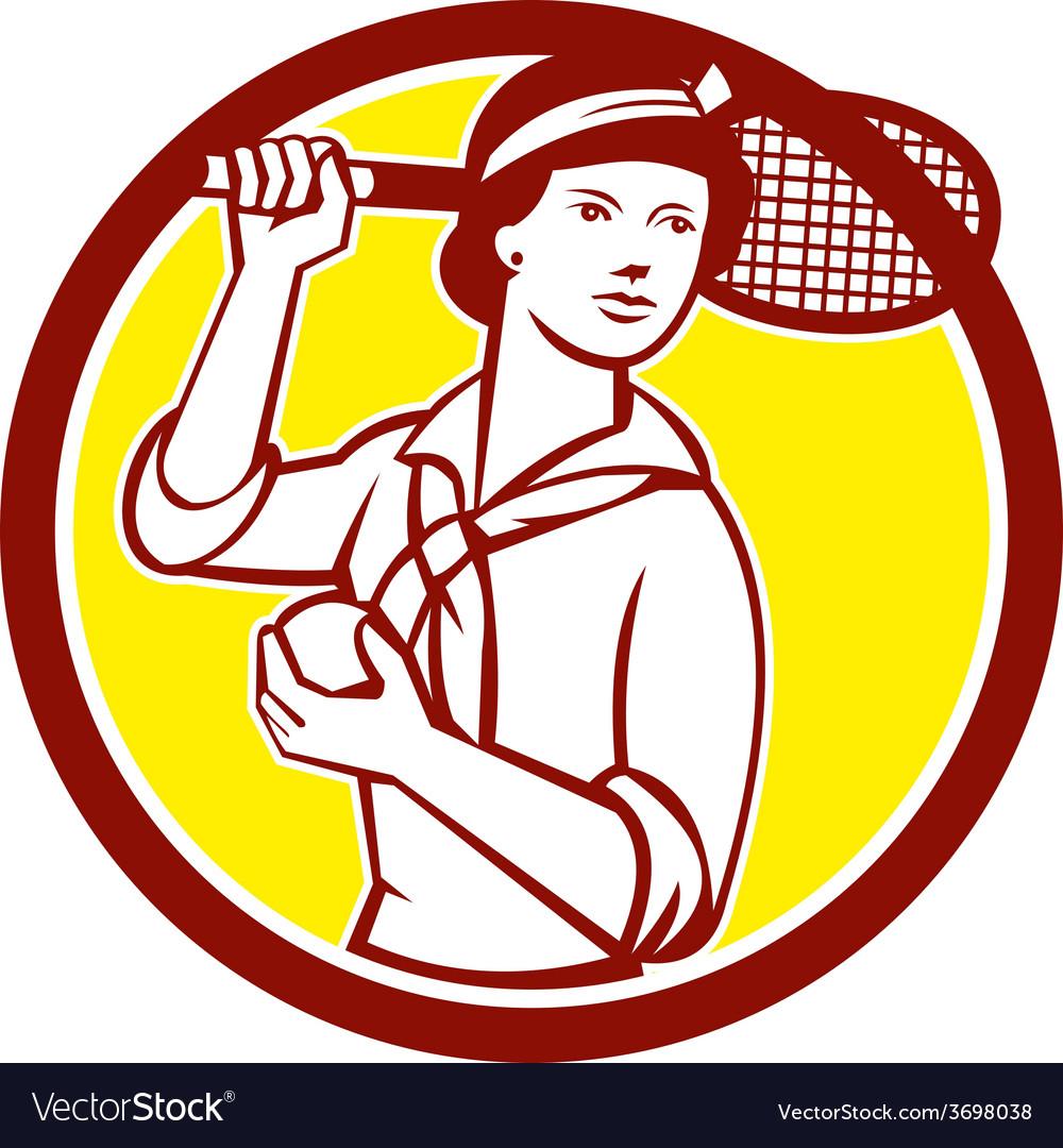 Female tennis player racquet vintage circle retro vector | Price: 1 Credit (USD $1)