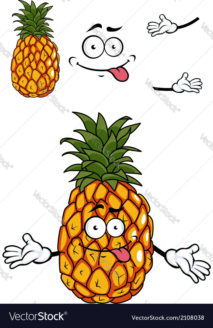 Happy cartoon tropical pineapple vector | Price: 1 Credit (USD $1)