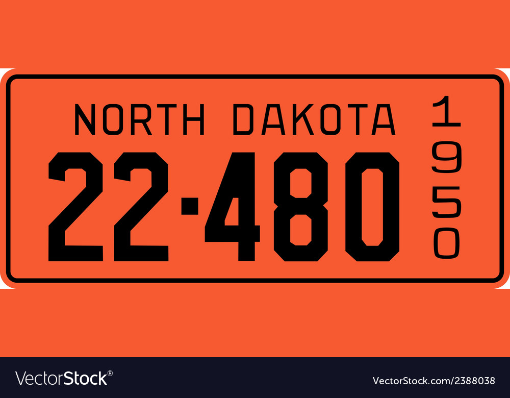 North dakota 1950 license plate vector | Price: 1 Credit (USD $1)