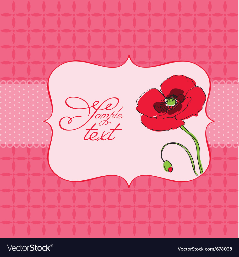 Poppy flower greeting card vector | Price: 1 Credit (USD $1)