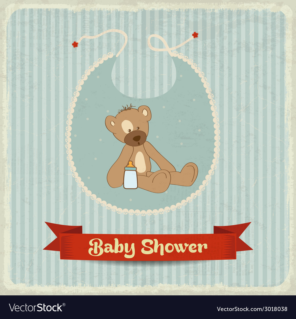 Retro baby shower card with teddy bear vector | Price: 1 Credit (USD $1)