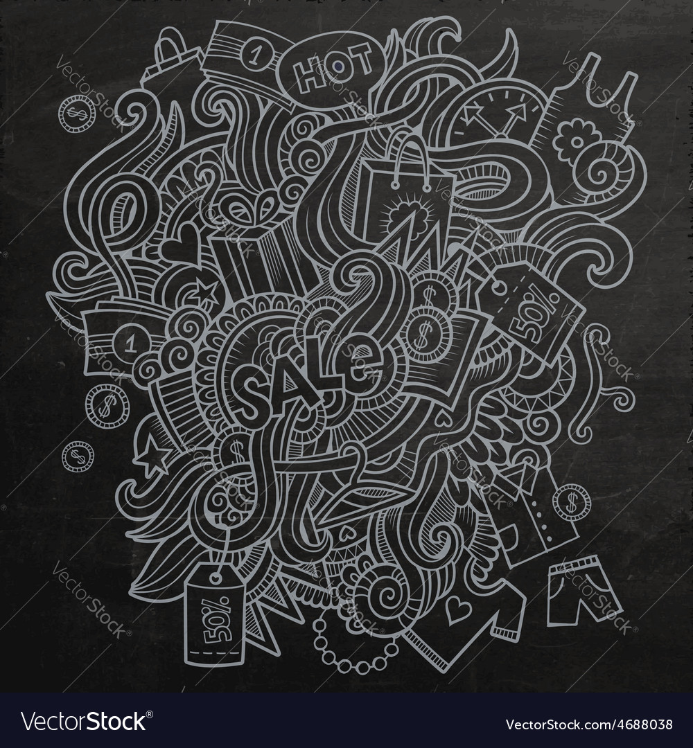 Sale doodles elements sketch background vector | Price: 1 Credit (USD $1)