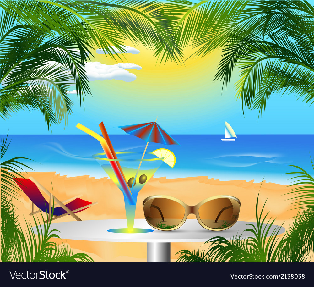 Summer card with sea view vector | Price: 3 Credit (USD $3)