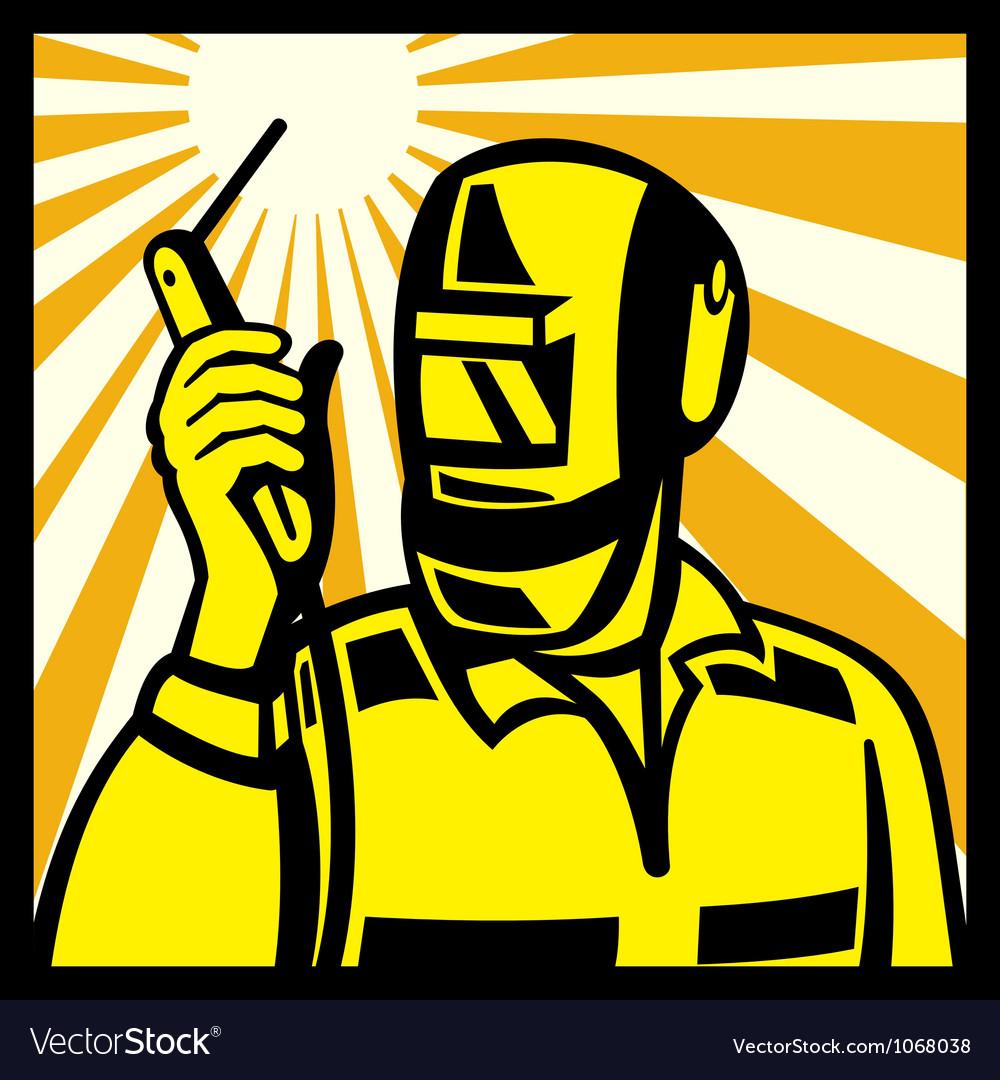 Welder worker welding torch retro vector | Price: 1 Credit (USD $1)