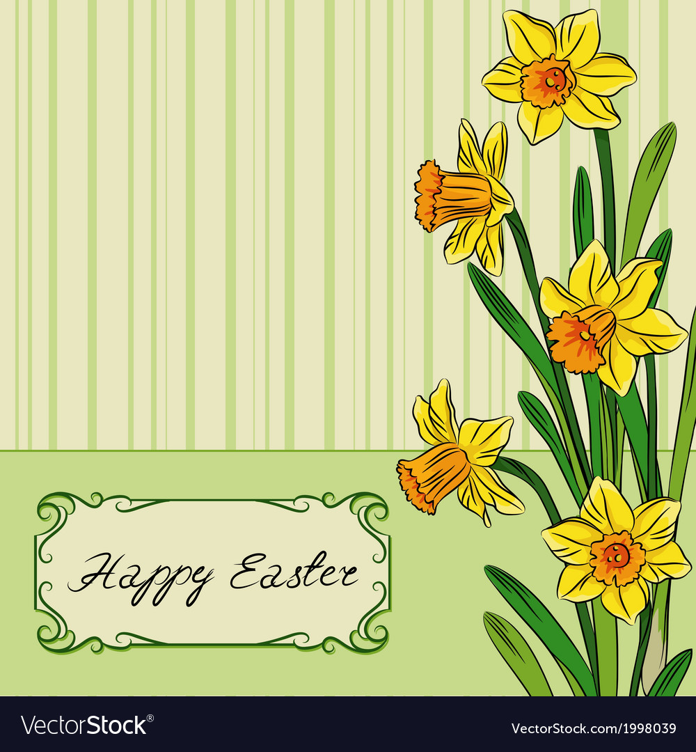 Card with easter daffodil in center and frame vector | Price: 1 Credit (USD $1)