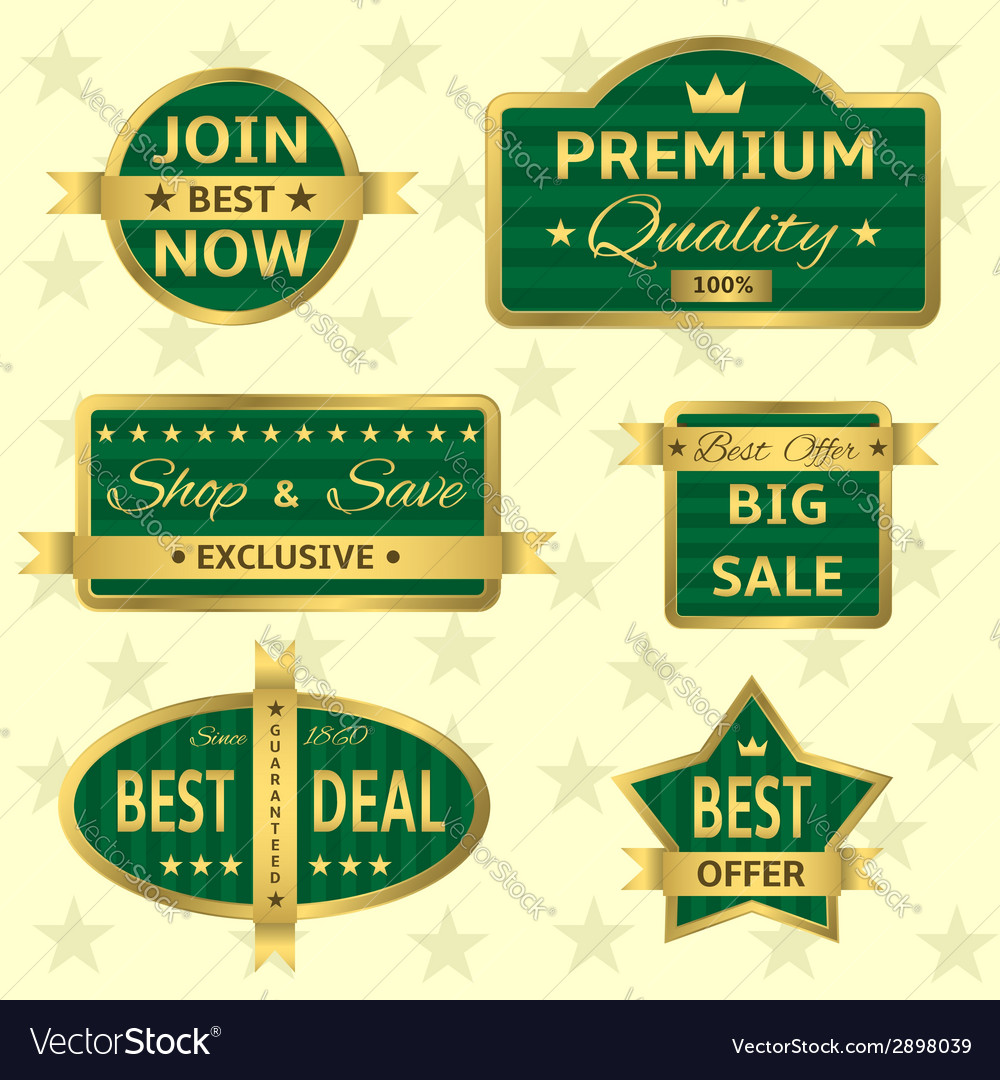 Green labels vector | Price: 1 Credit (USD $1)