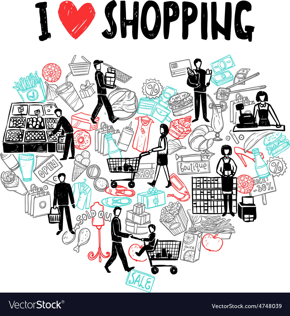 I love shopping concept vector | Price: 1 Credit (USD $1)