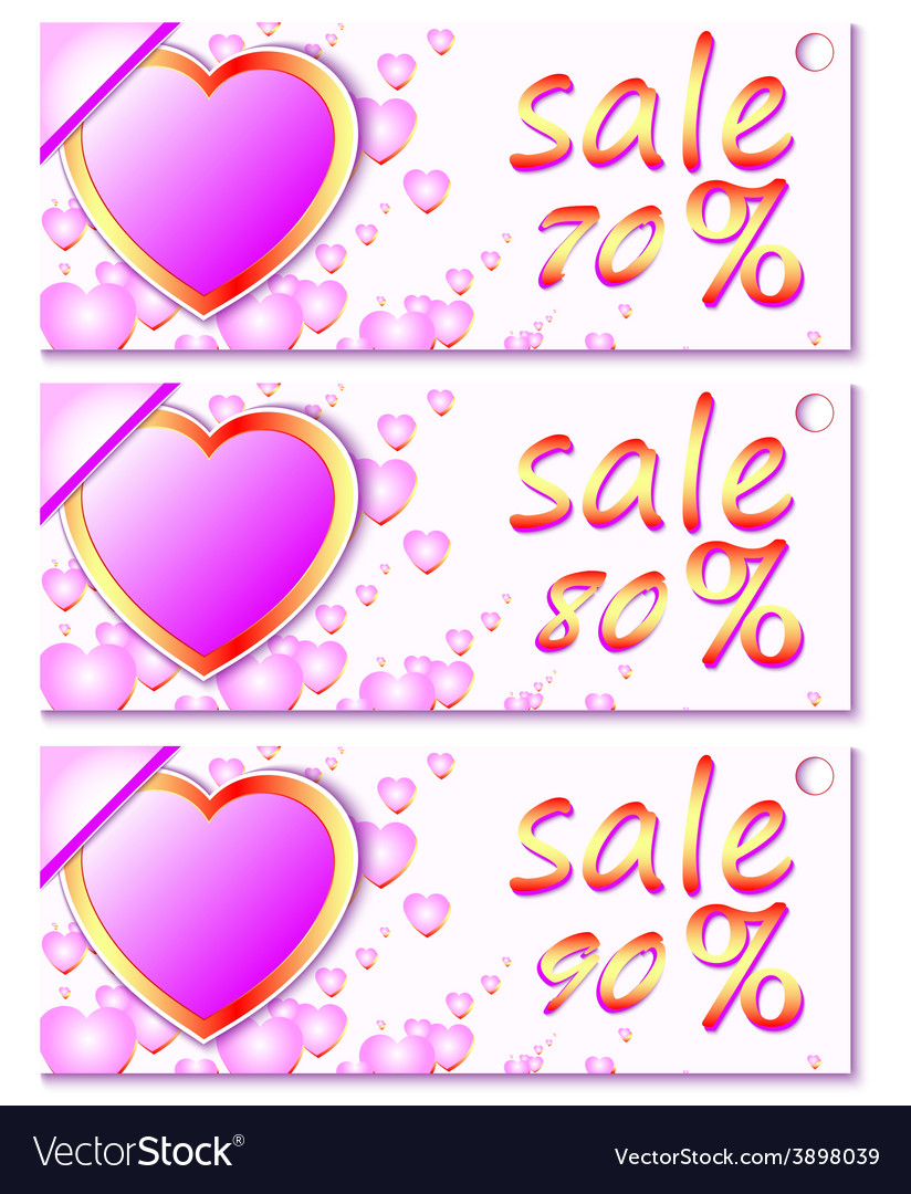 Sales and discounts banners with hearts vector | Price: 1 Credit (USD $1)