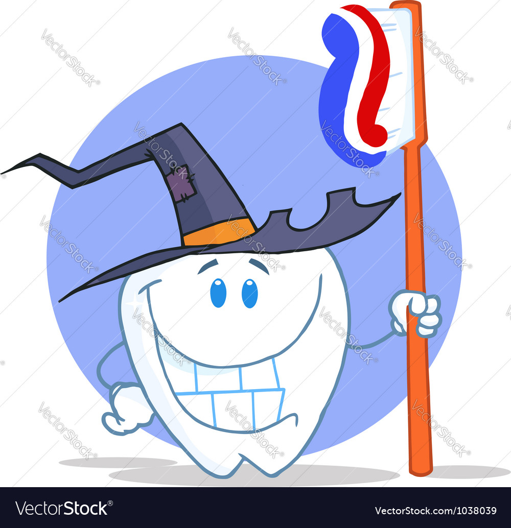 Smiling halloween tooth with toothbrush vector | Price: 1 Credit (USD $1)