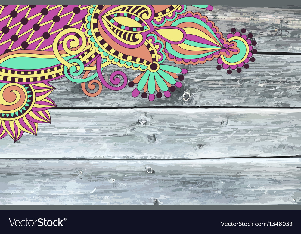 Wooden texture with ornamental floral patter vector | Price: 1 Credit (USD $1)