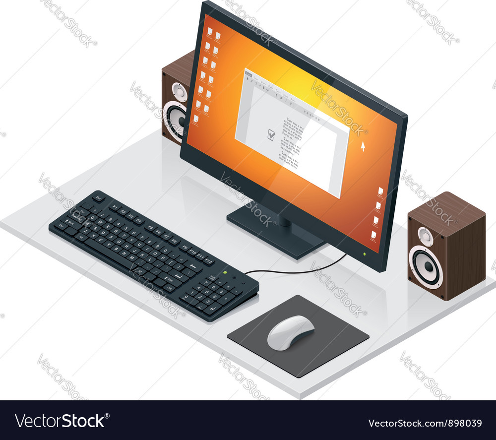 Workplace with computer and peripherals vector | Price: 3 Credit (USD $3)