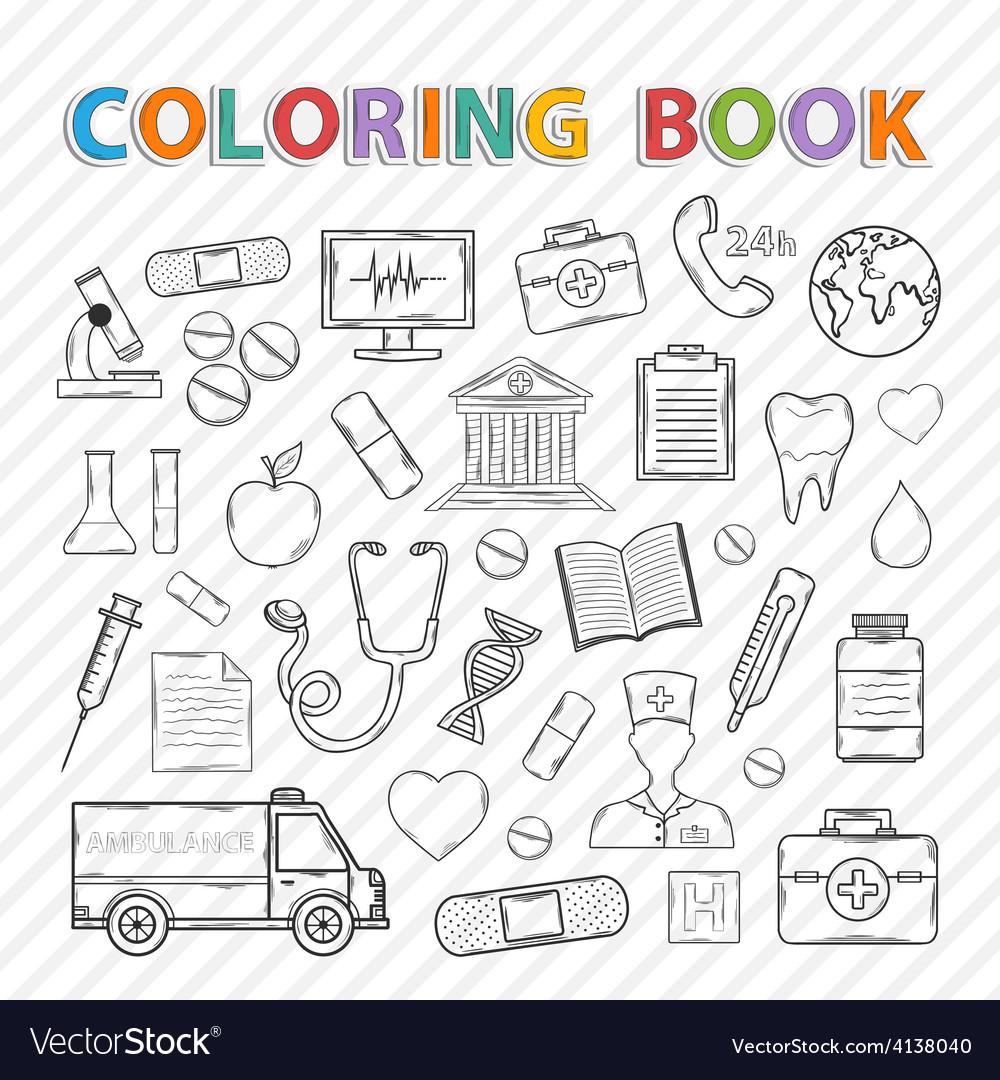 Coloring bookmedical set vector | Price: 1 Credit (USD $1)