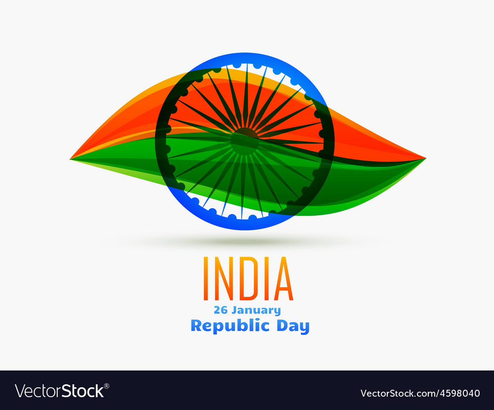 Indian republic day design celebrated on 26 vector | Price: 1 Credit (USD $1)