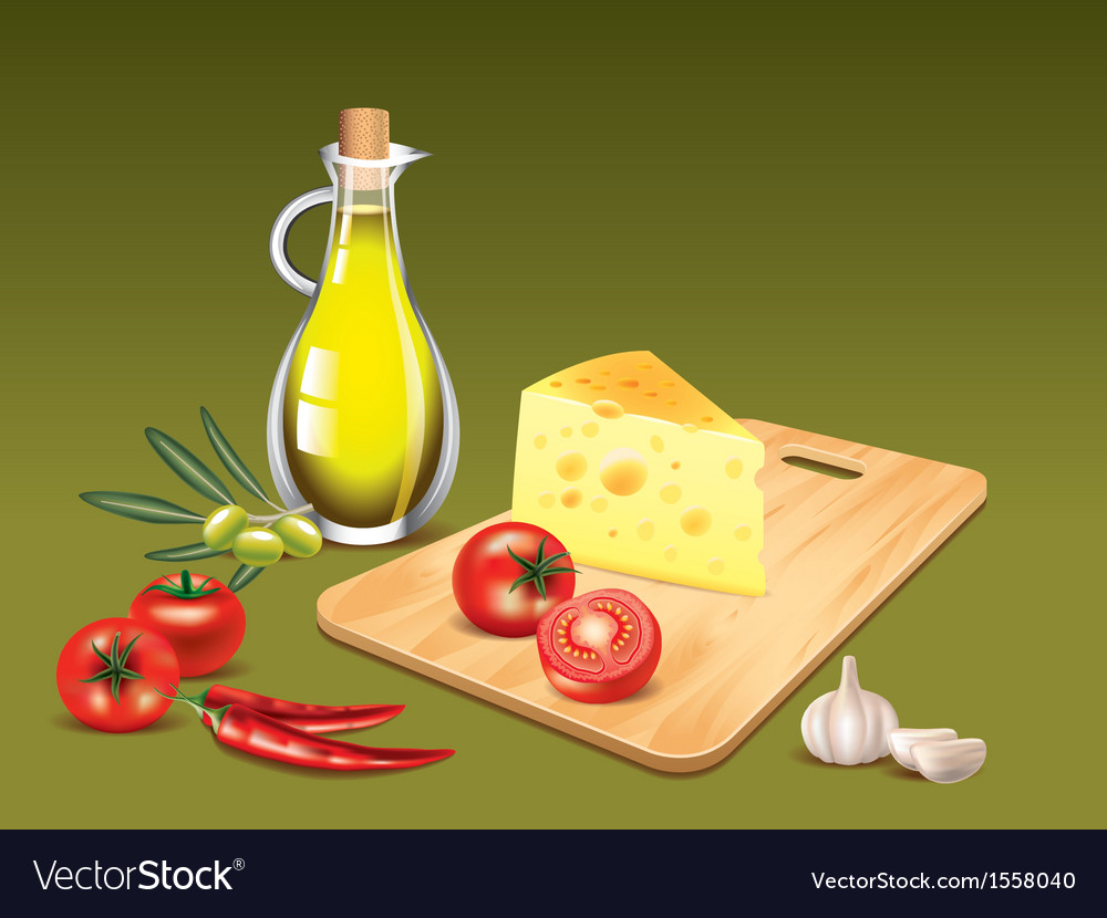 Italian food ingredients cooking background vector | Price: 1 Credit (USD $1)