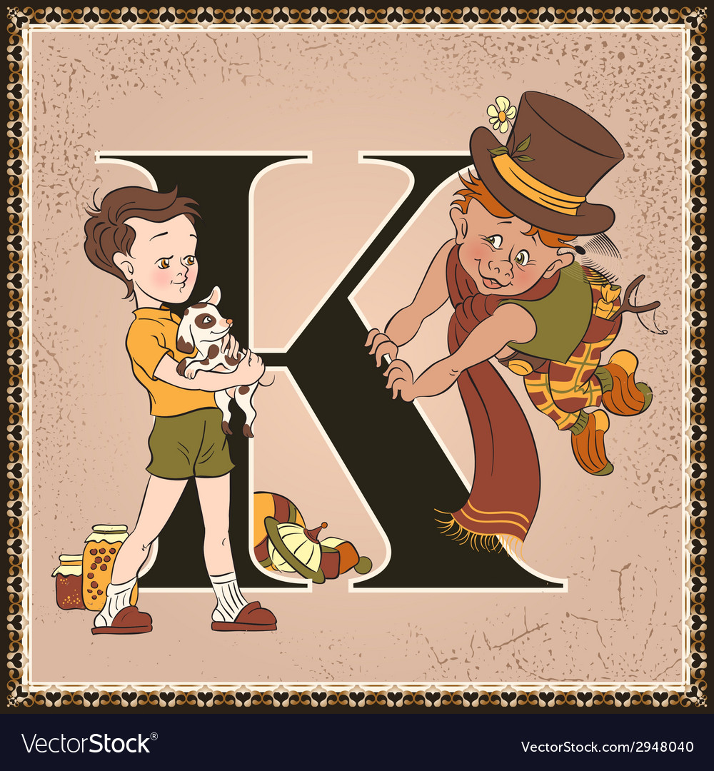 Letter k karlsson on the roof vector | Price: 3 Credit (USD $3)