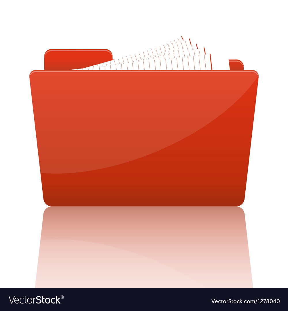 Orange file folder with paper vector | Price: 1 Credit (USD $1)