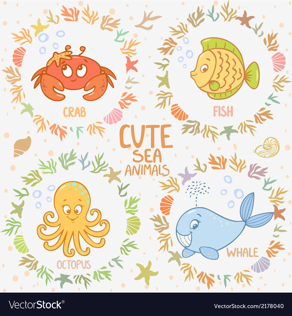 Sea animals set vector | Price: 1 Credit (USD $1)