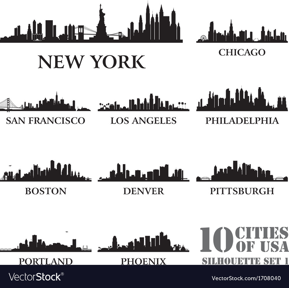 Silhouette city set of usa 1 vector | Price: 1 Credit (USD $1)