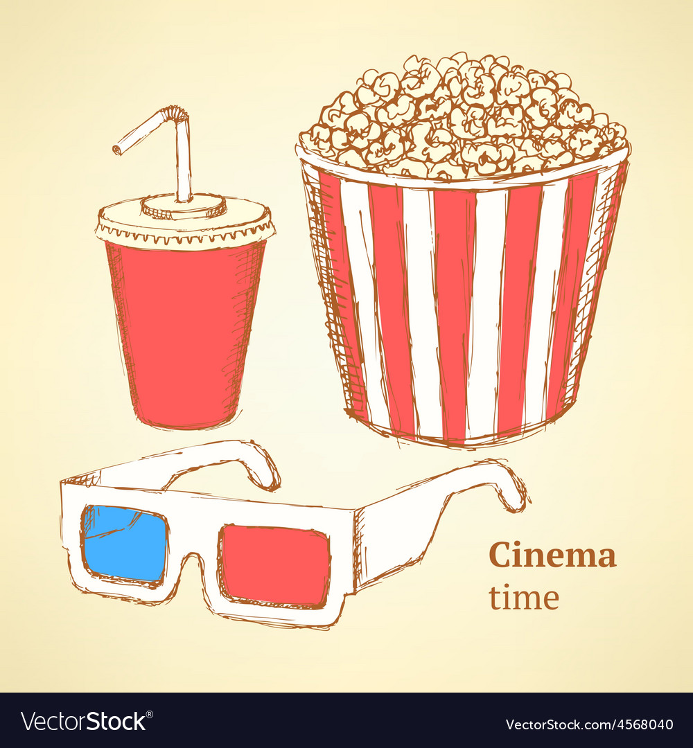 Sketch cinema set in vintage style vector | Price: 1 Credit (USD $1)