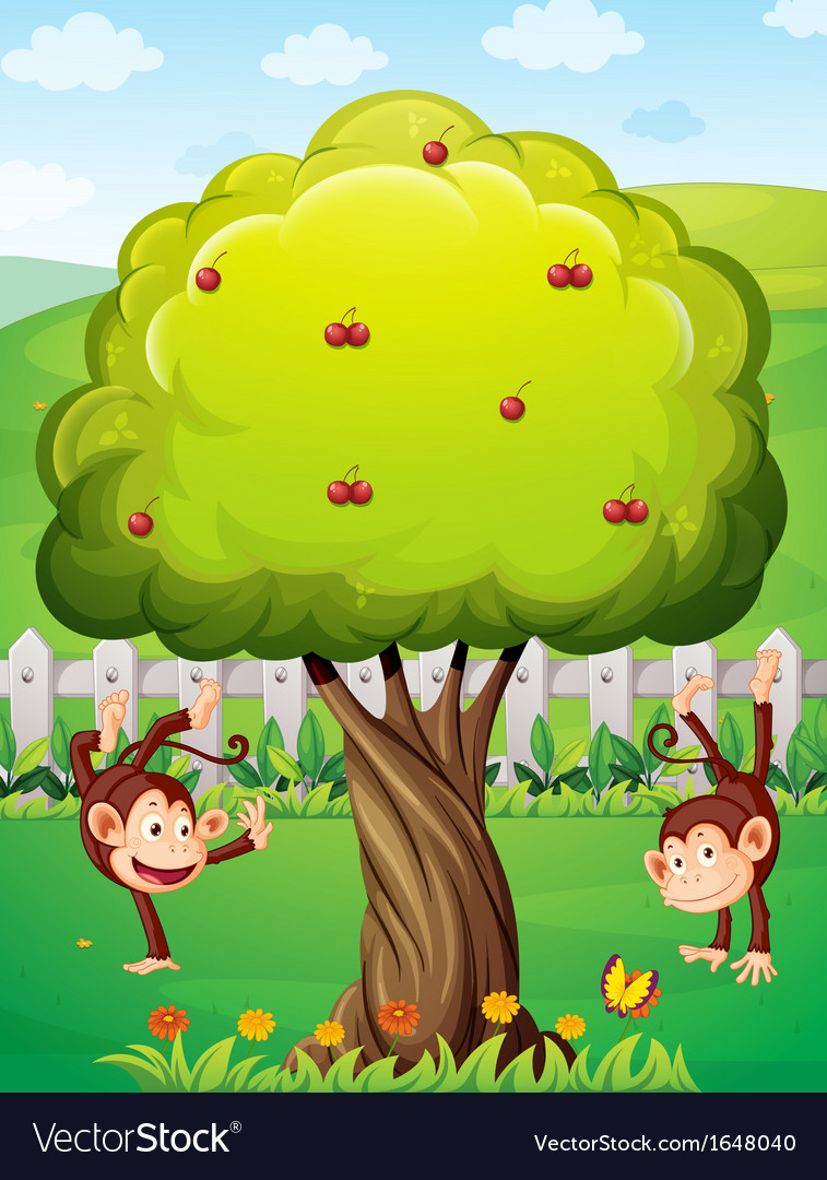 Two monkeys playing at the yard vector | Price: 1 Credit (USD $1)