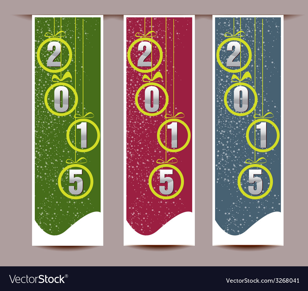 Banner set of happy new year vector | Price: 1 Credit (USD $1)