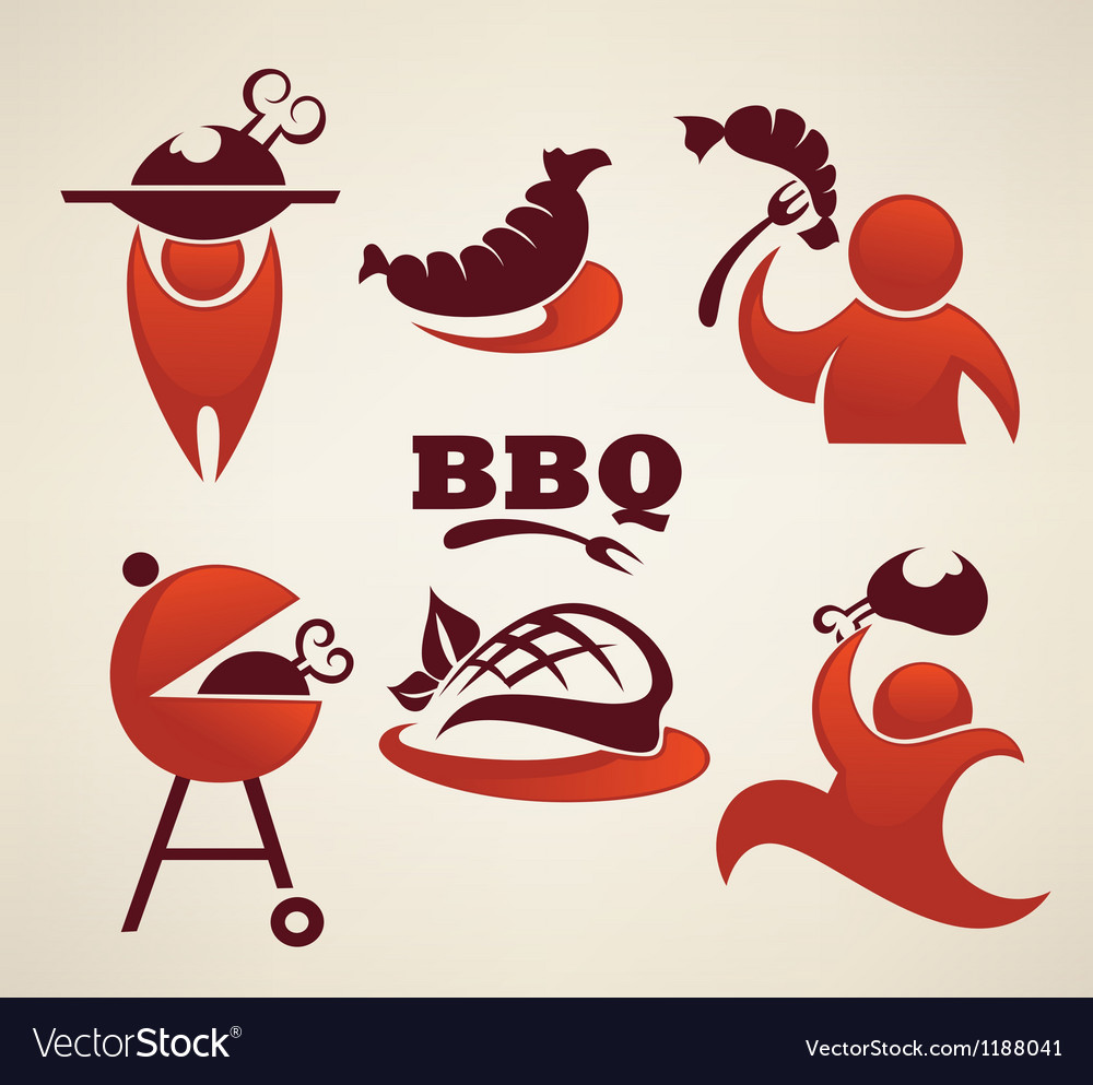 Bbq and outdoor meal symbols vector | Price: 1 Credit (USD $1)