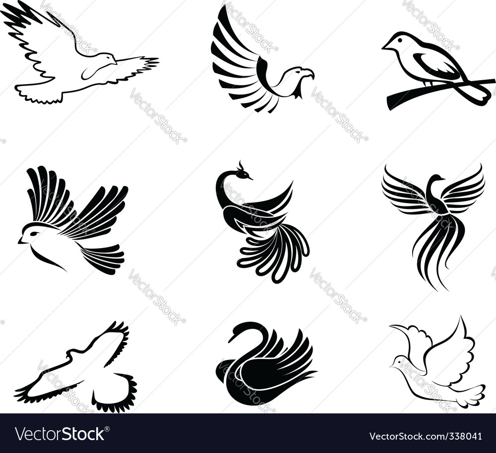 Bird symbols vector | Price: 1 Credit (USD $1)