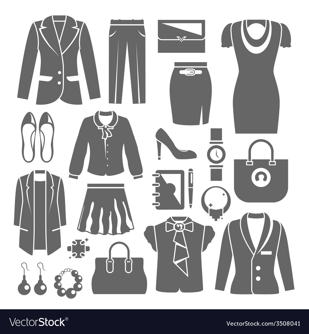 Businesswoman clothes set vector | Price: 1 Credit (USD $1)