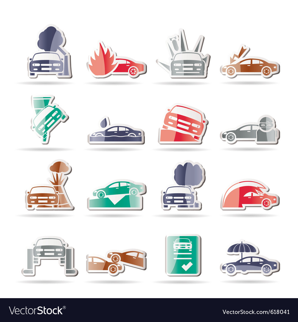 Car and transportation insurance and risk icons vector | Price: 1 Credit (USD $1)