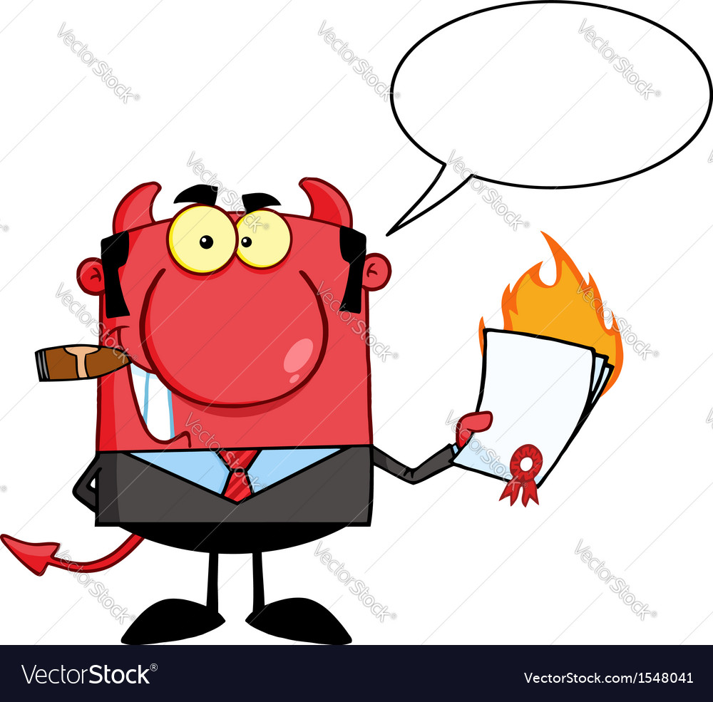 Devil business man burning contract vector | Price: 1 Credit (USD $1)