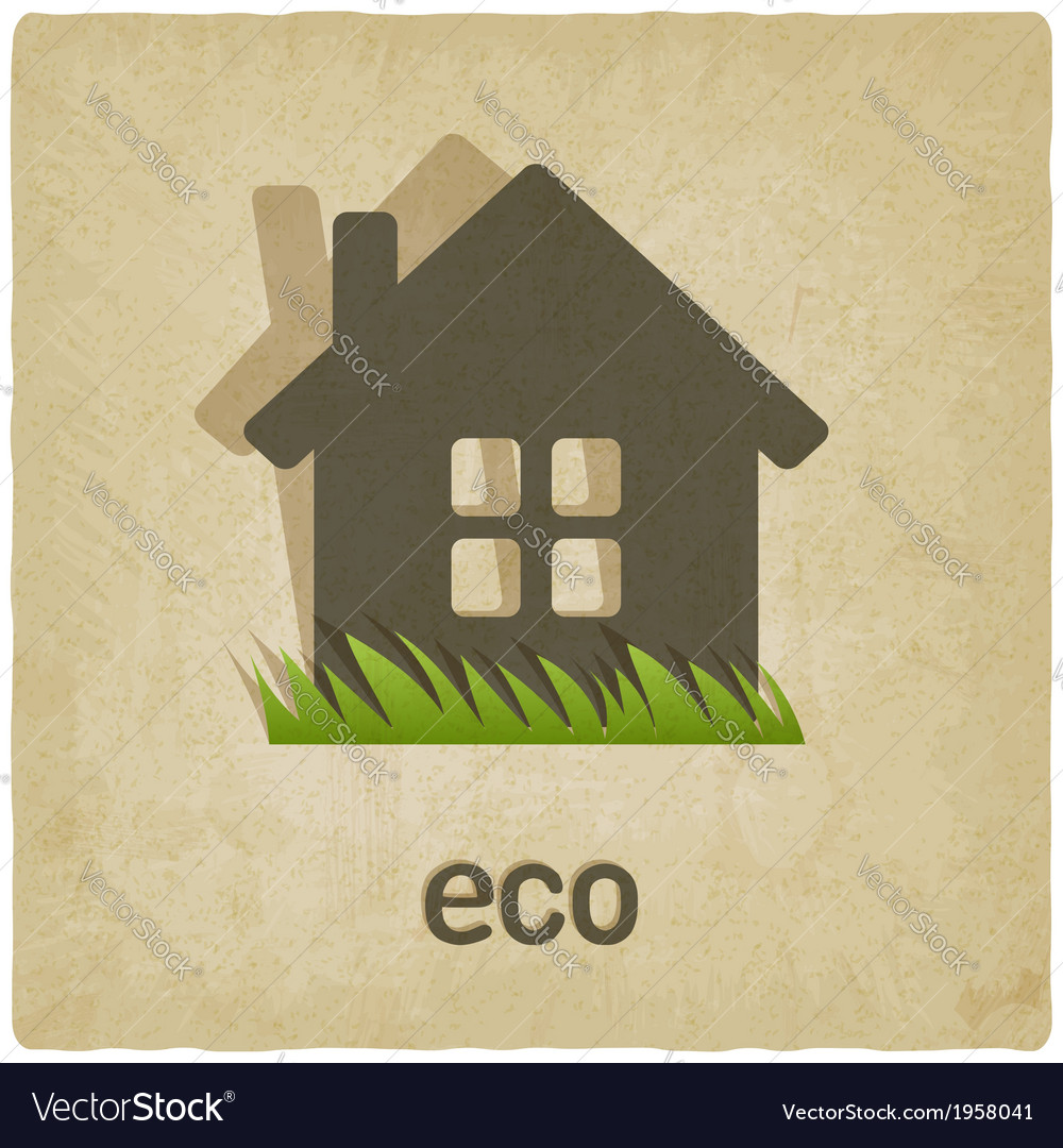 Eco house old background vector | Price: 1 Credit (USD $1)