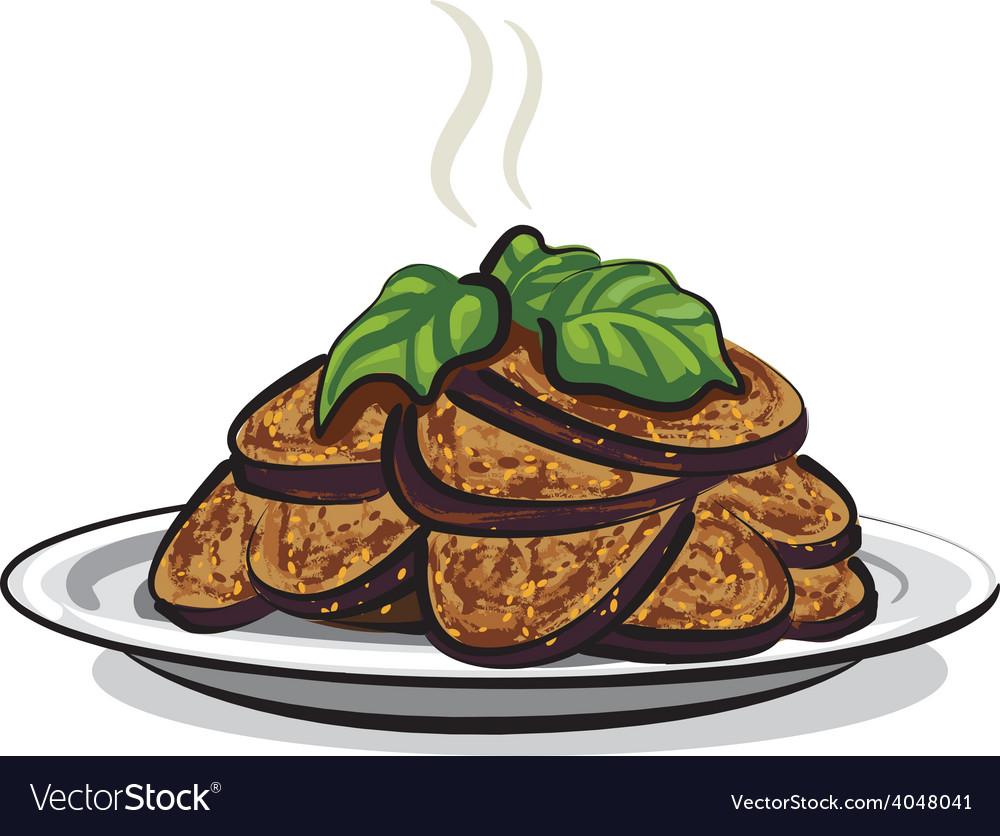 Fried eggplants vector | Price: 1 Credit (USD $1)