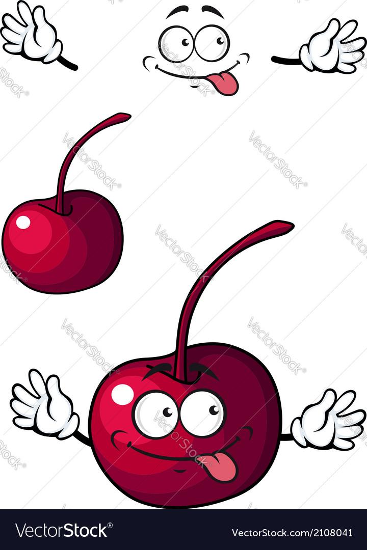 Happy little cherry fruit vector | Price: 1 Credit (USD $1)